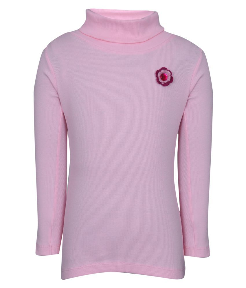 Bio Kid Pink Solid Full Sleeve Solid Girl's Sweatshirt