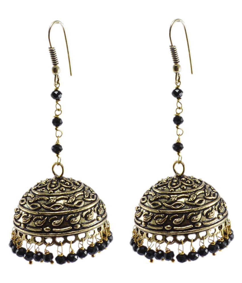 Silvesto India Antique Oxidized Finish Traditional Style Jhumki