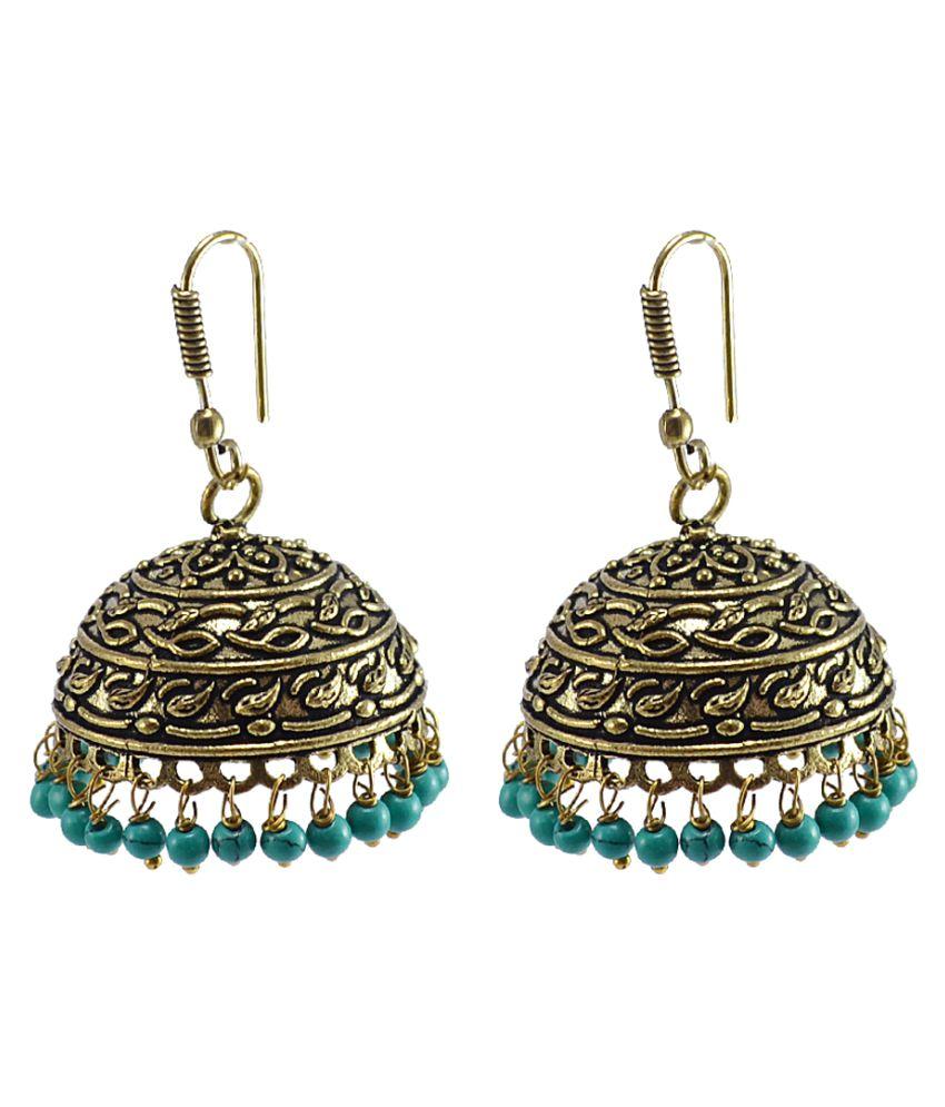 Silvesto India Blue Brass Jhumki
