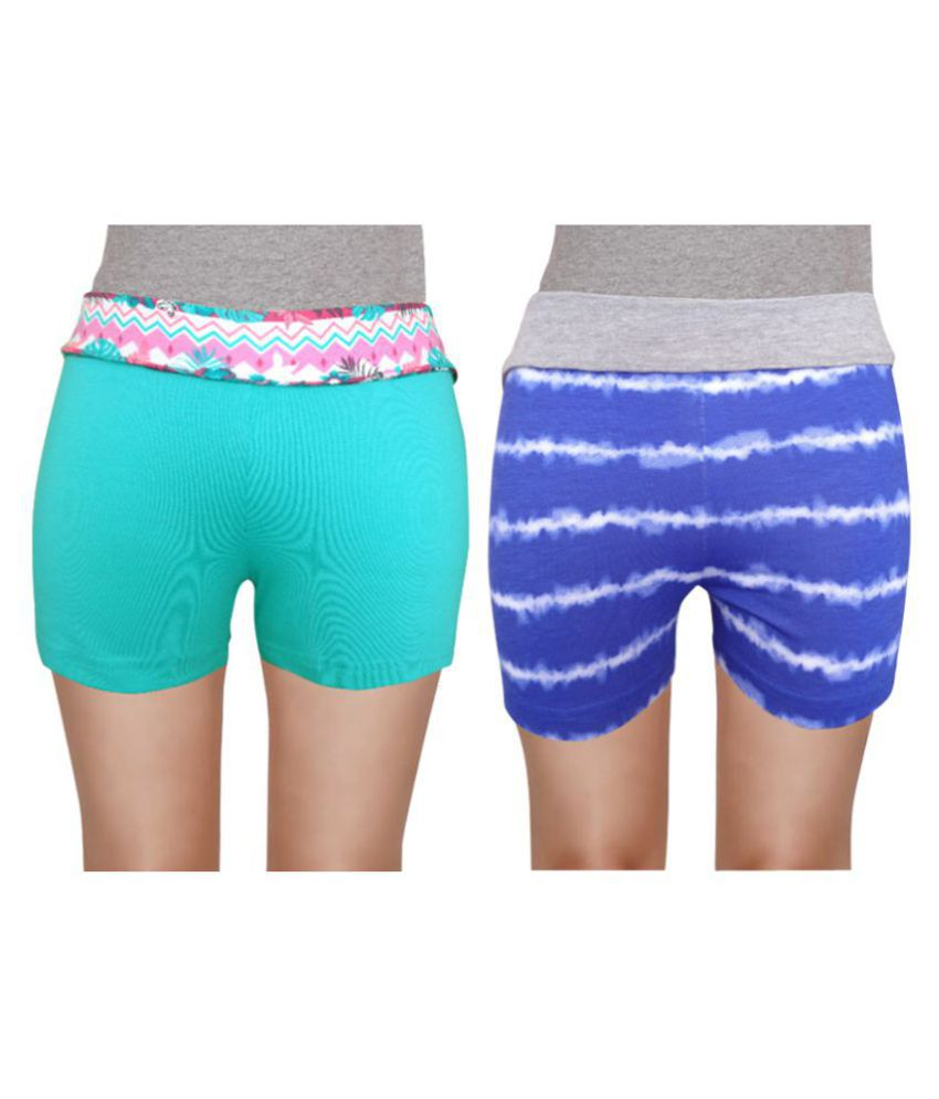 Girl Confidential Multicolour Cotton Shorts - Pack of 2