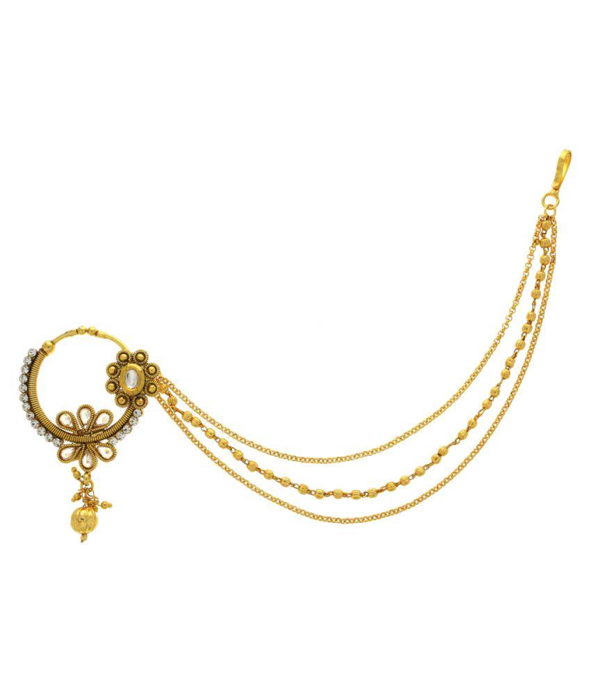 Anuradha Art Golden Alloy Nosering for Women