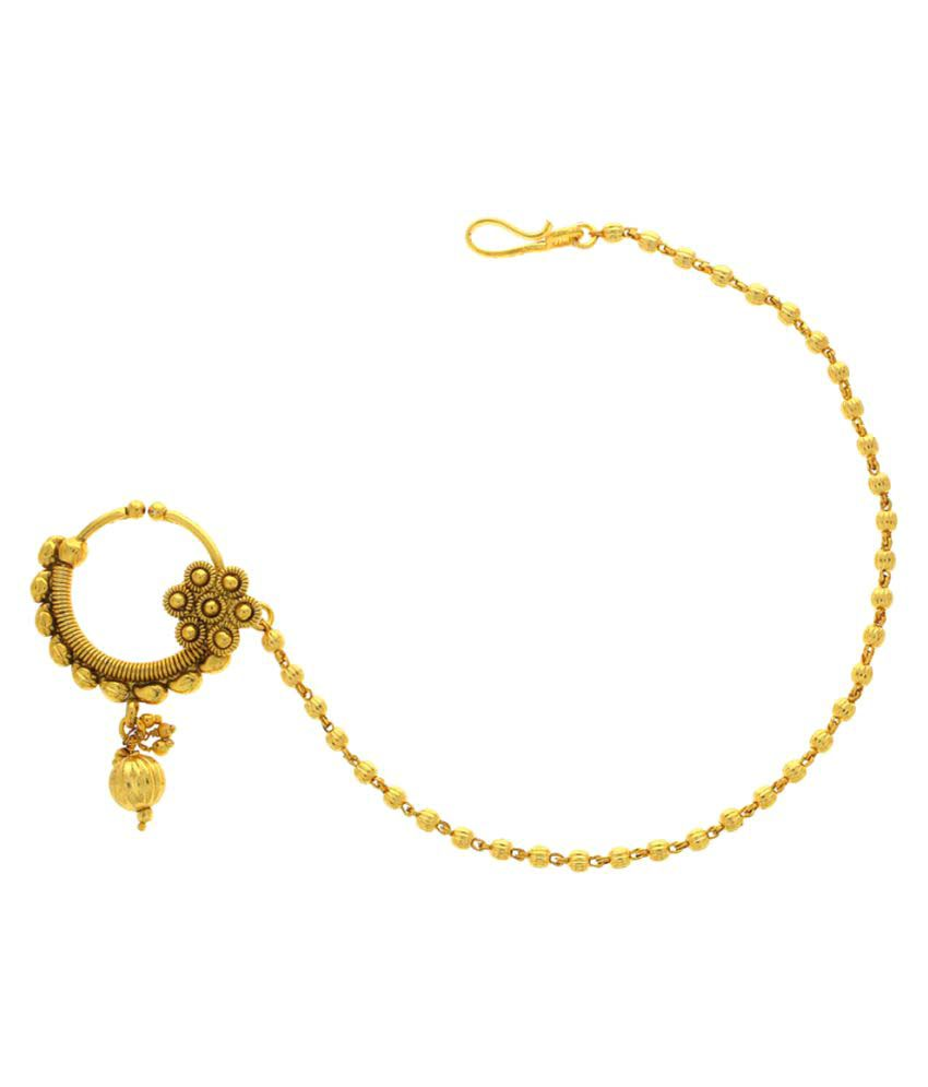 Anuradha Art Golden Alloy Nosering with Chain