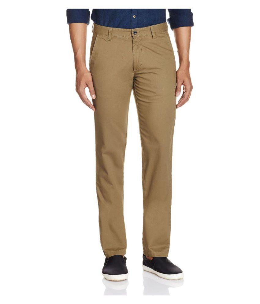 Arrow Olive Green Slim Flat Trousers