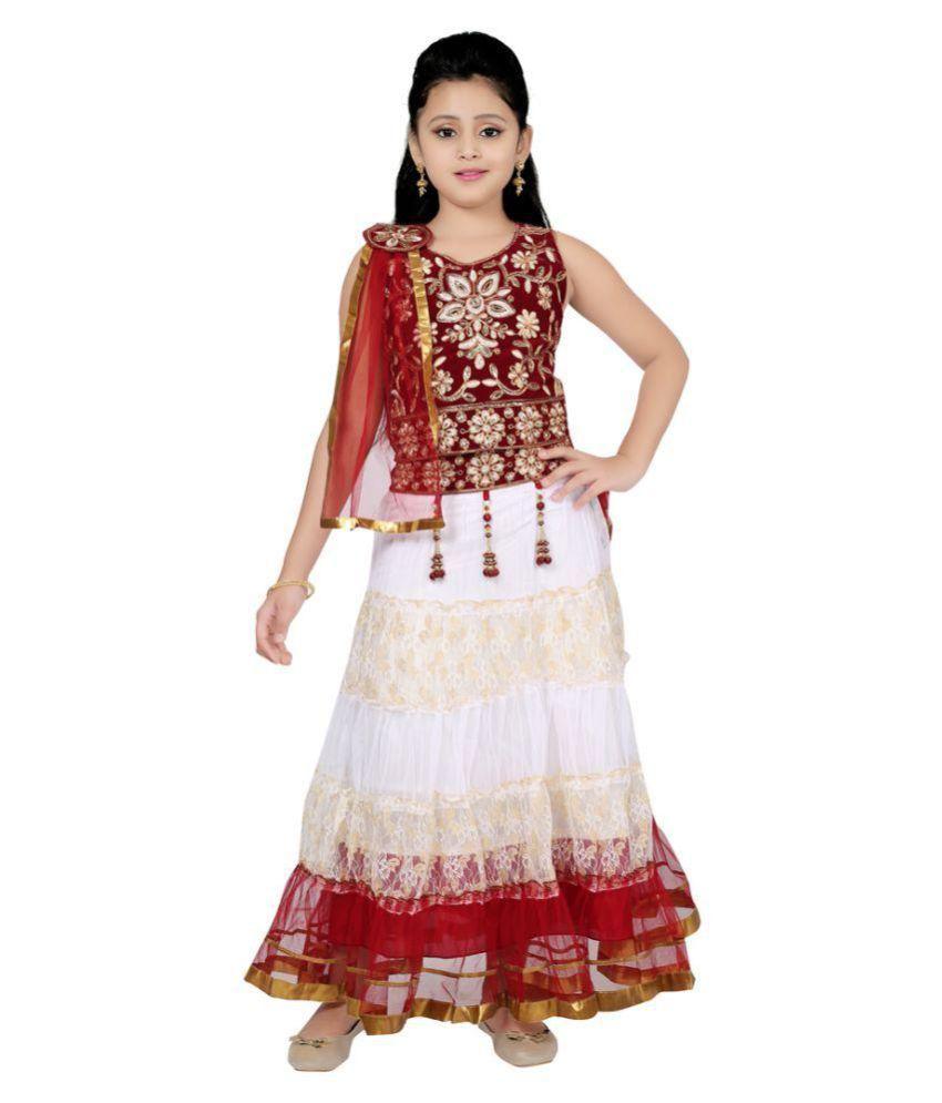 Sarrah White Lehenga Choli Set For Girls