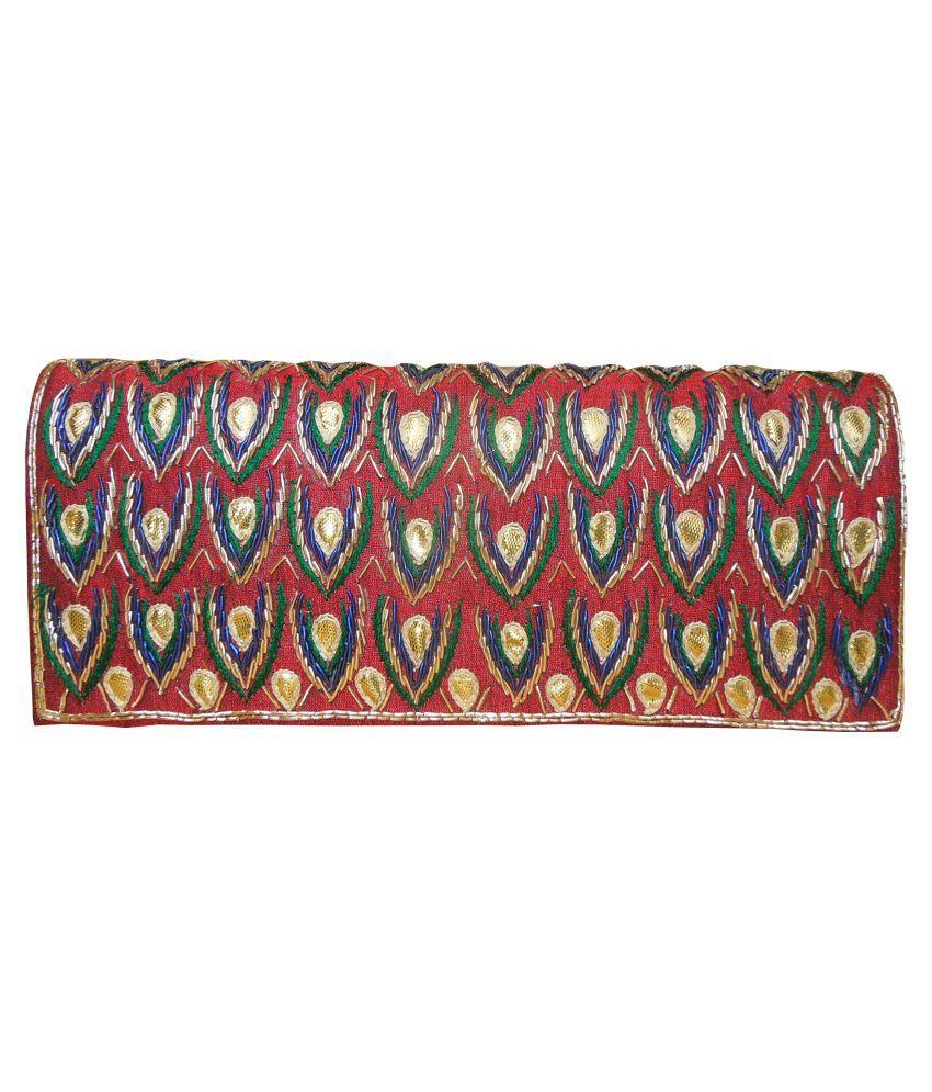 Spice Art Maroon Fabric Box Clutch