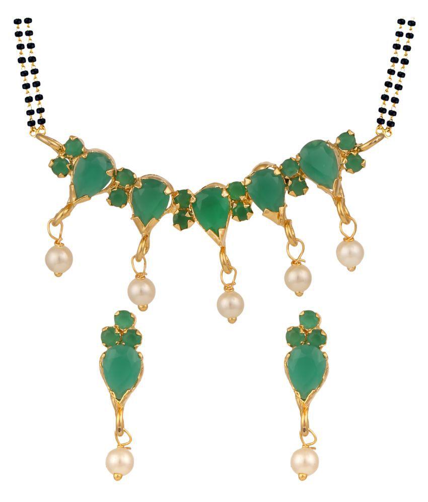 Parinaaz Green Alloy Mangalsutra Set