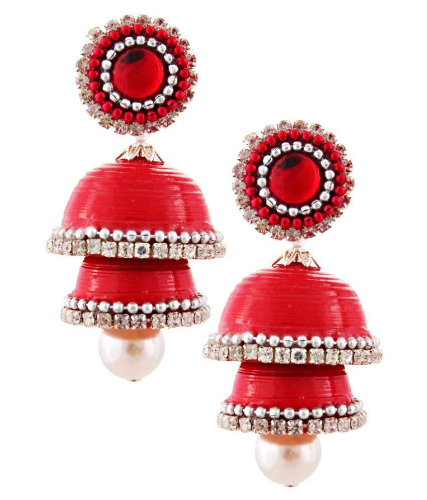 Gurukripa Shopee Hancrafted Single Red Jhumka