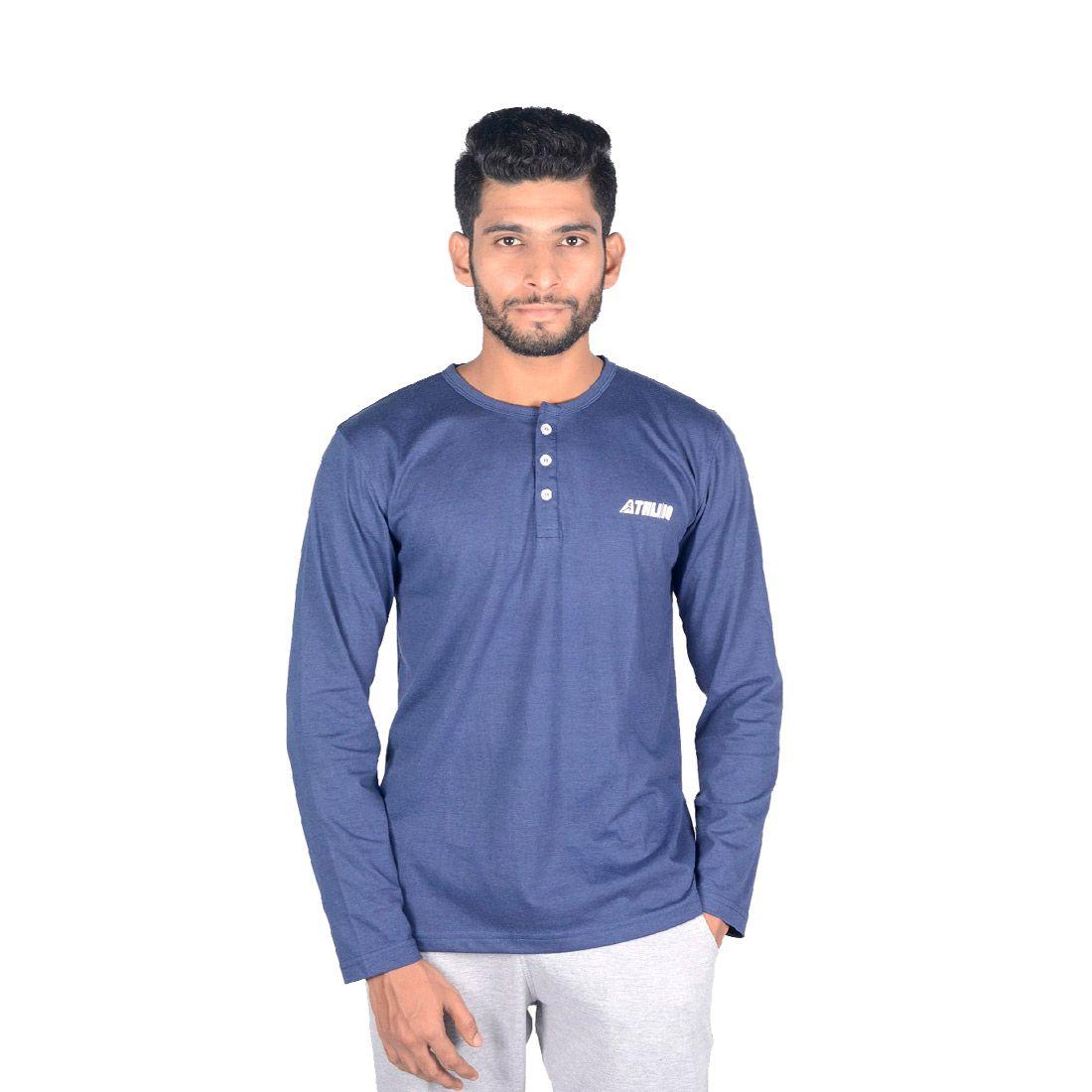 Athliiq Blue Henley T-Shirt
