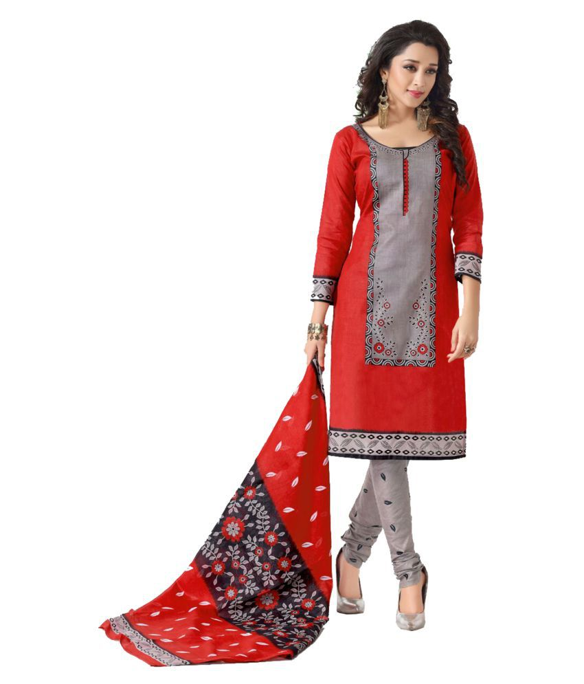 874b2143b Sahari Designs Red and Grey Cotton Dress Material - Buy Sahari Designs Red  and Grey Cotton Dress Material Online at Best Prices in India on Snapdeal