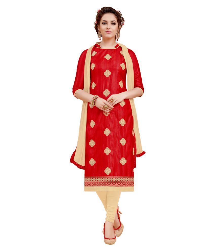 Swaron Red Bhagalpuri Silk Dress Material