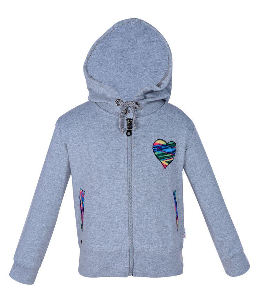 Gkidz Grey Girls Hooded Full Sleeve Sweatshirt