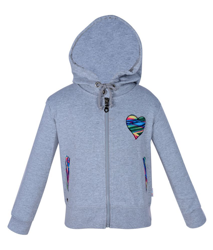 Gkidz Grey Girls Hooded Full Sleeve Sweatshirt