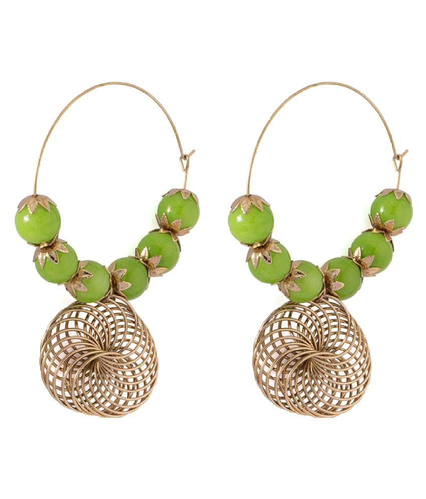 Voylla Golden Hoop Earrings With Green Stones Beaded