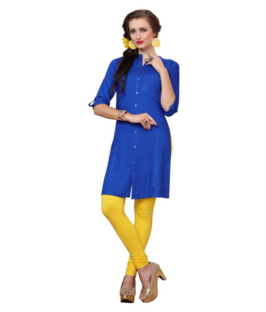 Minu Blue Cotton Shirt Style Kurti