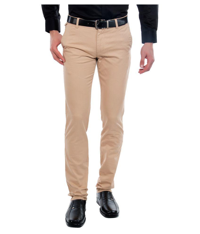 Vimal Beige Slim Flat Trousers