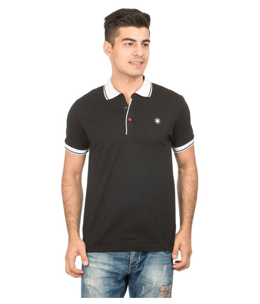 Zeven Black Cotton Polo T-Shirt Single Pack
