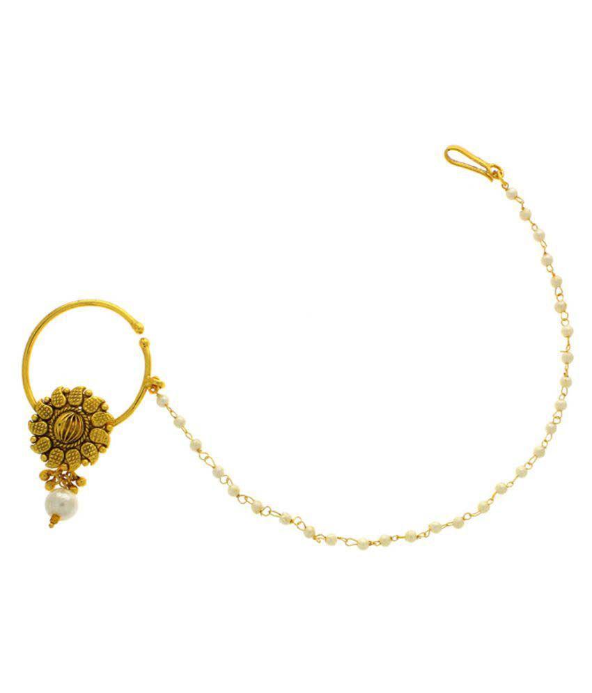 Anuradha Art Golden Alloy Nath for Women & Girls