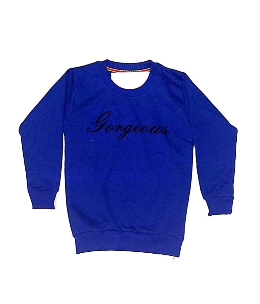 Cuddlezz Dark Blue Fleece Girl Sweatshirts