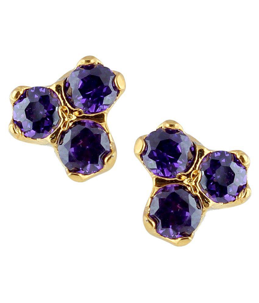 Parinaaz Purple Alloy Stud Earrings