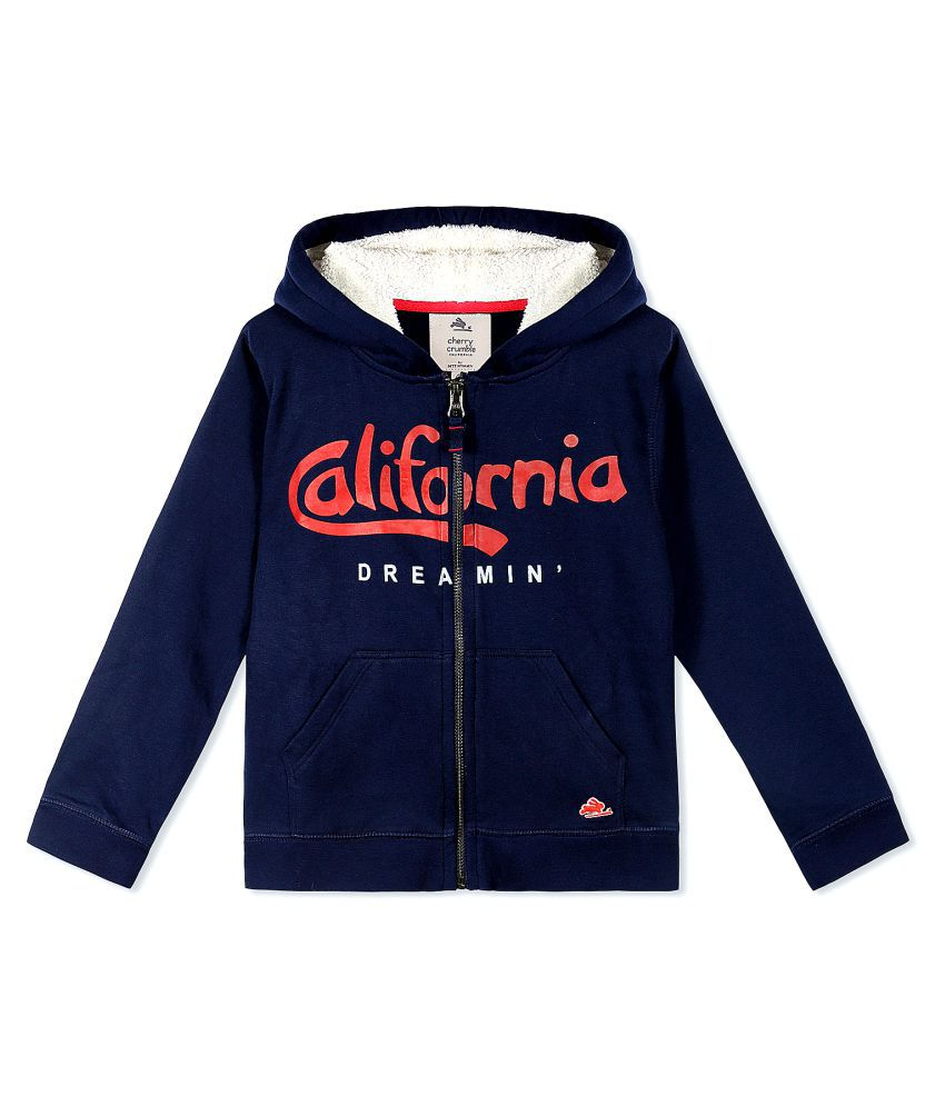 Cherry Crumble California Mid Night Blue Hoodie Sweatshirts For Girl