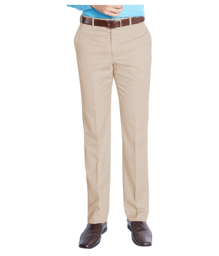Park Avenue Beige Slim Flat Trousers