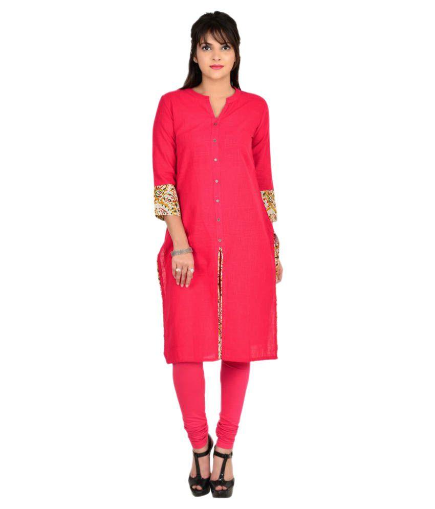 Vasudha Pink Cotton Front Slit Kurti