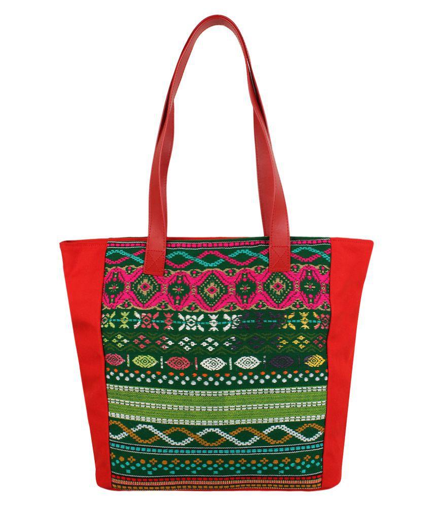 Anekaant Red Fabric Shoulder Bag
