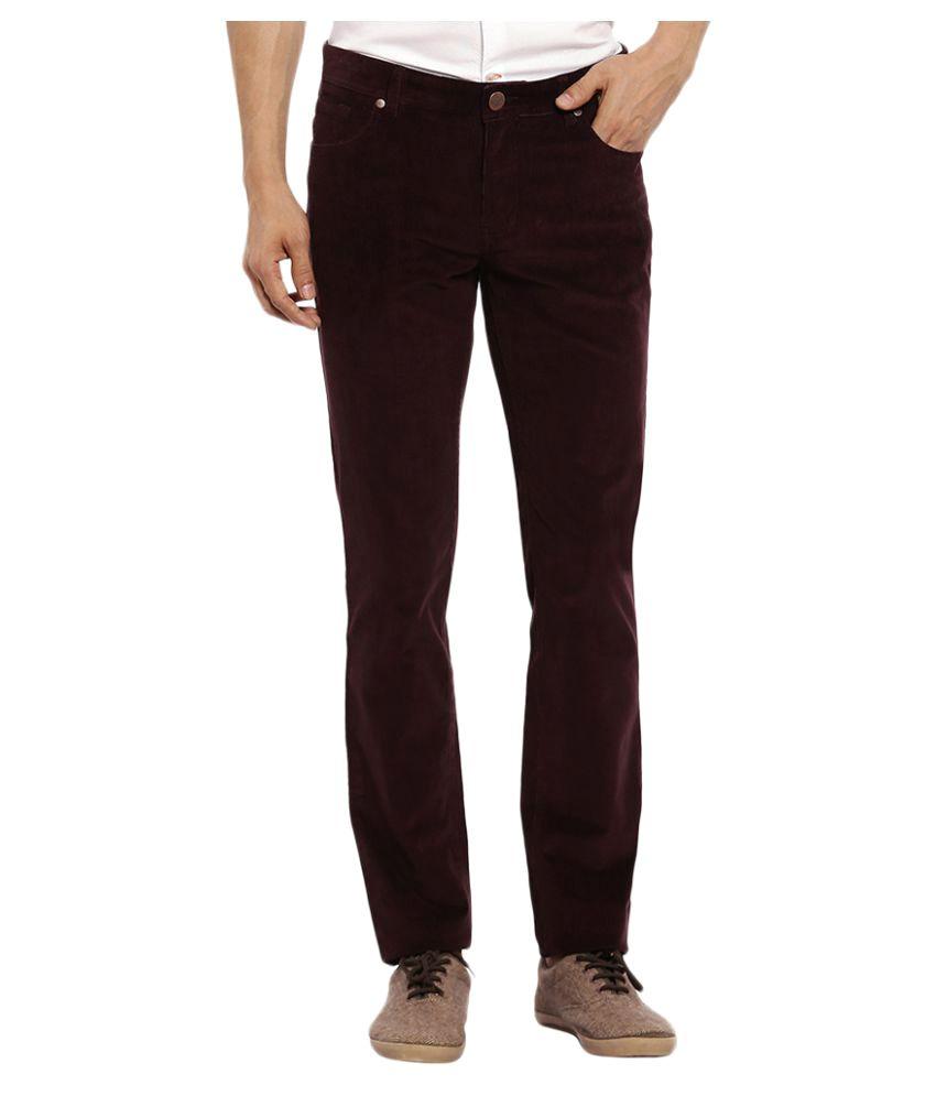 Colorplus Brown Regular Flat Trousers