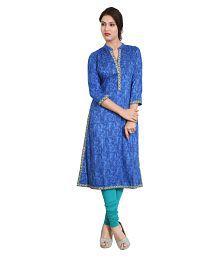 Cotton Culture Blue Rayon Straight Kurti