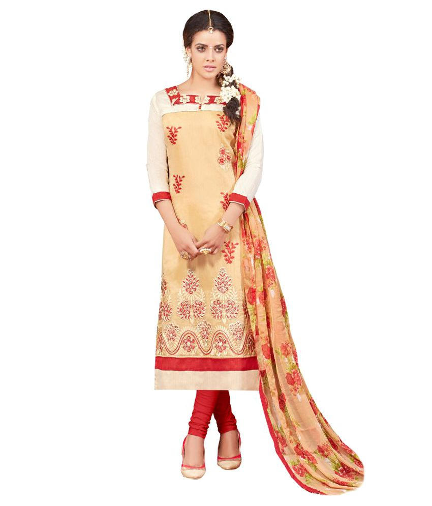 Infi-Up Beige Chanderi Dress Material