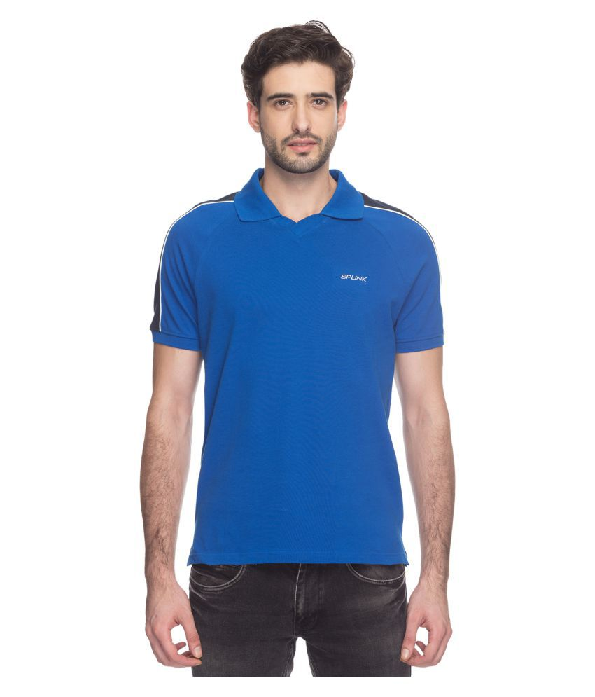 SPUNK by FBB Blue Cotton Polo T-Shirt Single Pack