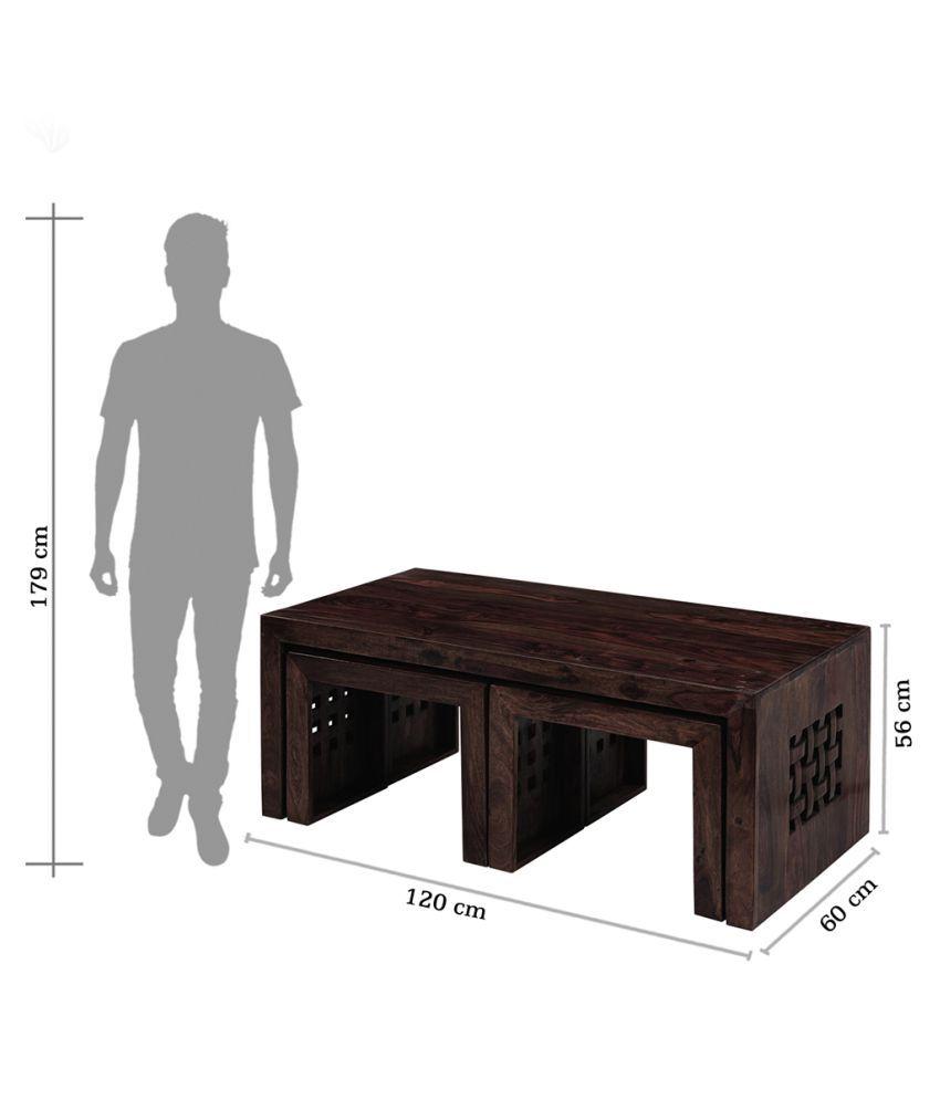 Inhouz Solid Wood Zig Zag Coffee Table With Stools