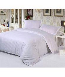 Abhi Home Decor Double Satin Stripe White Stripes Bed Sheet