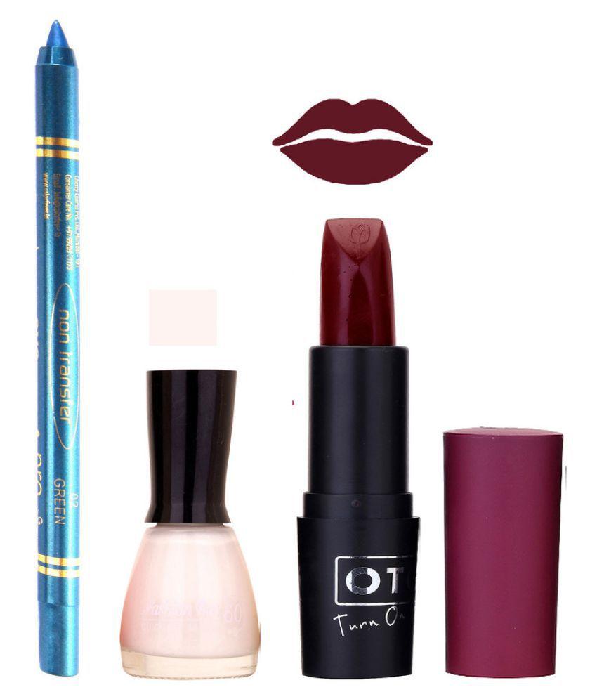 Fashion Bar Nail Polish Otg Lipstick,Blue Kajal Cobmo 100 Glossy 9 ml Pack of 3
