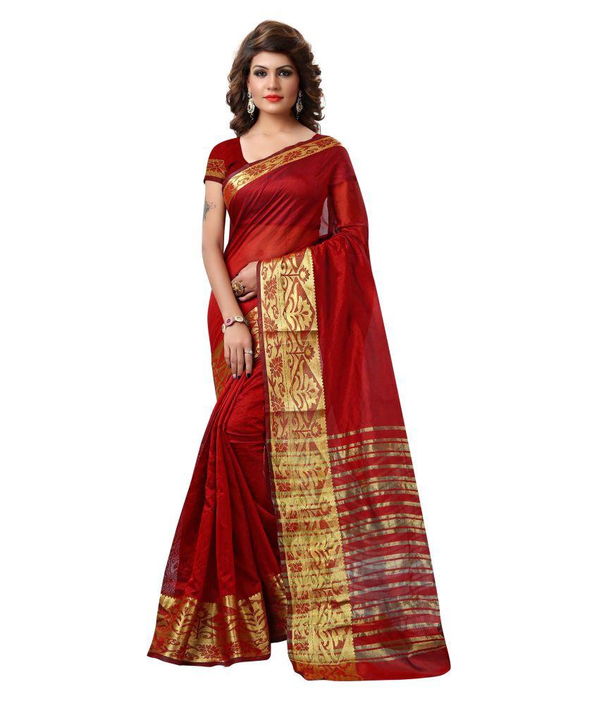 Aradhya Maroon Tissue Saree