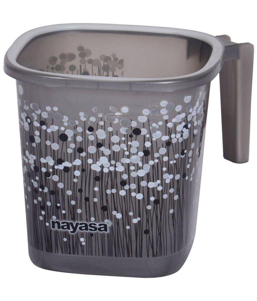 Plastic bathroom sets -  Nayasa Black Plastic Bath Set 25
