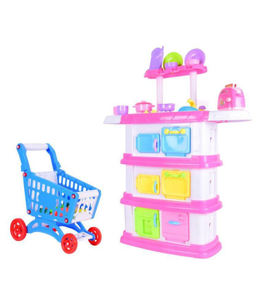 Kitchen Set Online Shopping: Planet Of Toys Kitchen And Shopping Trolley Set (120