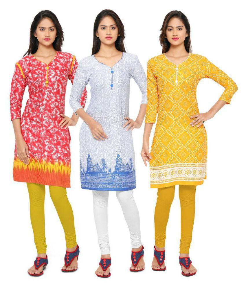 Fabliva Multicoloured Cotton Straight Kurti