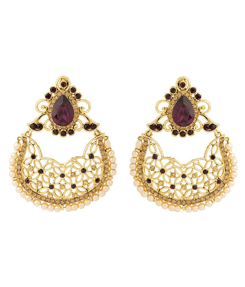 Voylla Golden Hanging Earrings