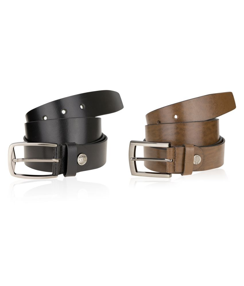 Genious Multi Leather Formal Belts - Pack of 2