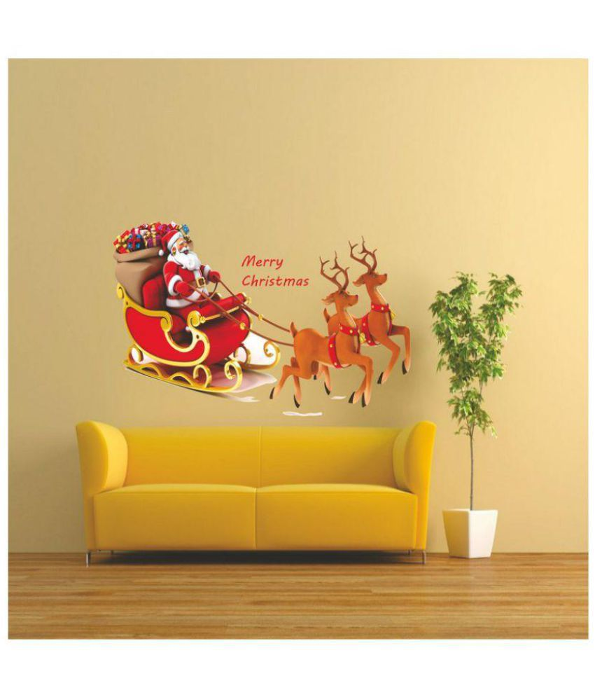 2fa80553b279a2 Wall Dreams Santa Claus & Reindeer PVC Wall Stickers - Buy Wall Dreams Santa  Claus & Reindeer PVC Wall Stickers Online at Best Prices in India on  Snapdeal