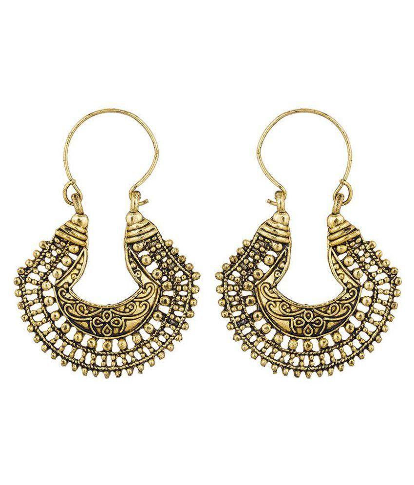 The Luxor Golden Alloy Hanging Earrings