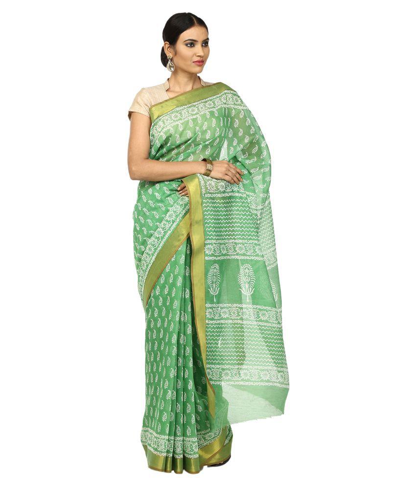 Kalakari India Green Super Net Saree