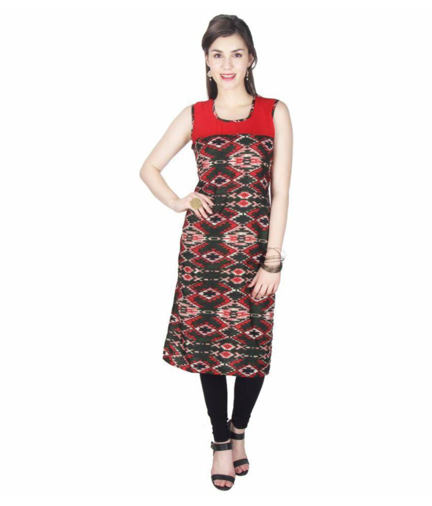 Anu Creations Multicoloured Georgette Straight Kurti