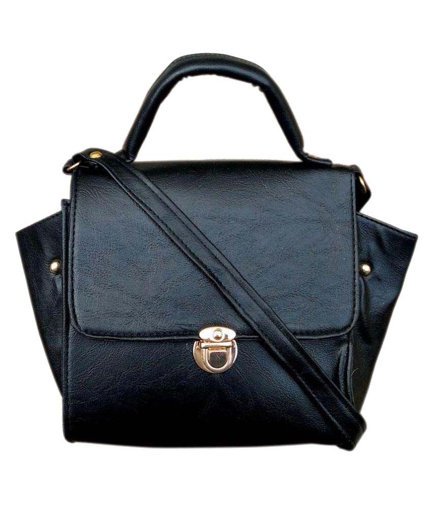 Madash Black Artificial Leather Sling Bag