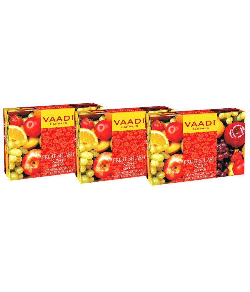 Fruit splash 2 -  Vaadi Herbals Value Pack Of 3 Fruit Splash Soap With Extracts Of Orange Peach