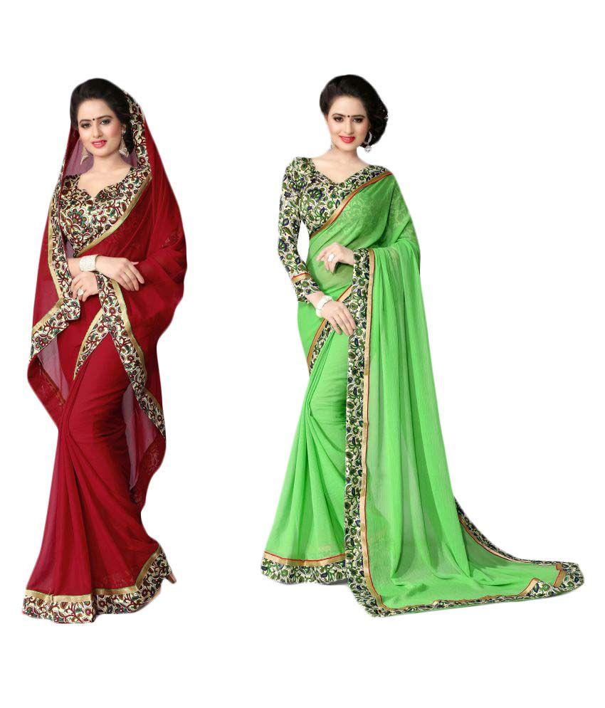 Oorjeet Multicoloured Chiffon Saree Combos