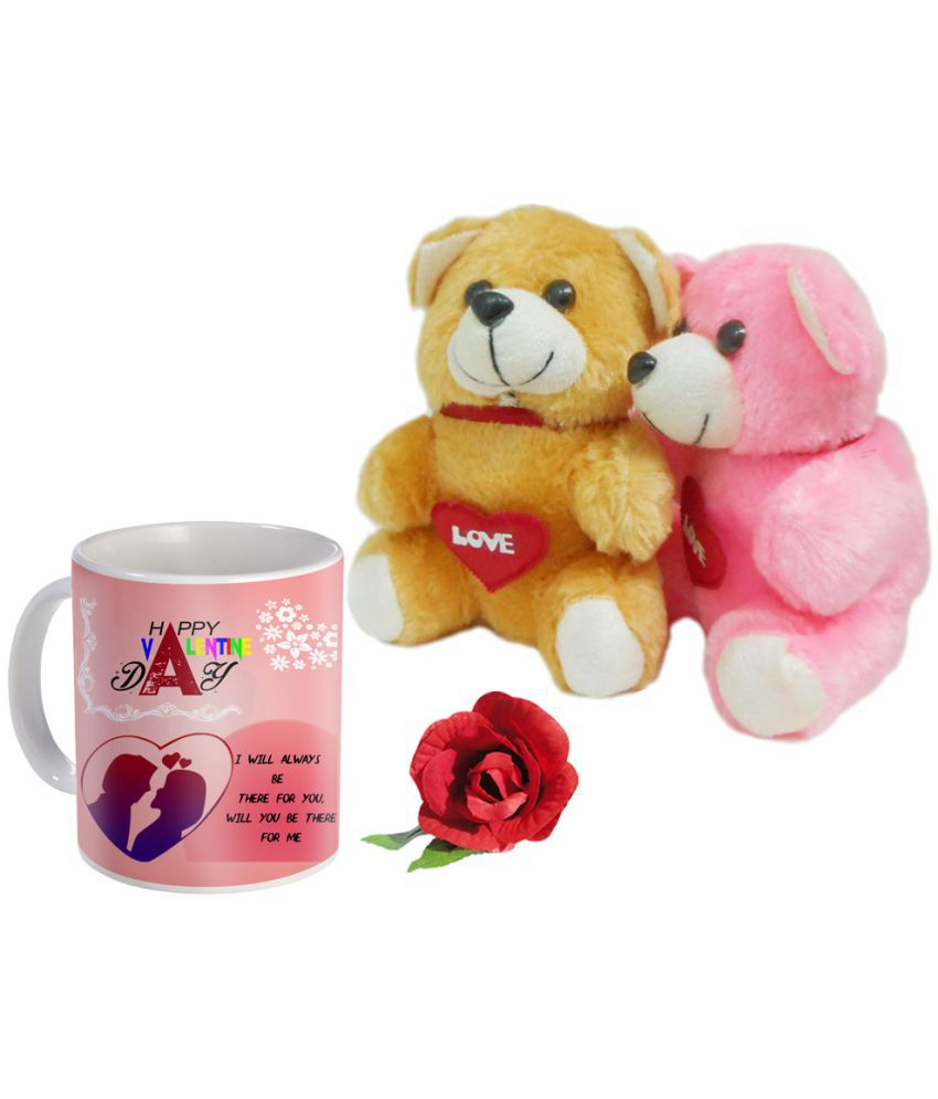 Skytrends Ceramic Coffee Mug 325 ml with 2 Teddy Bears and 1 Artificial Rose
