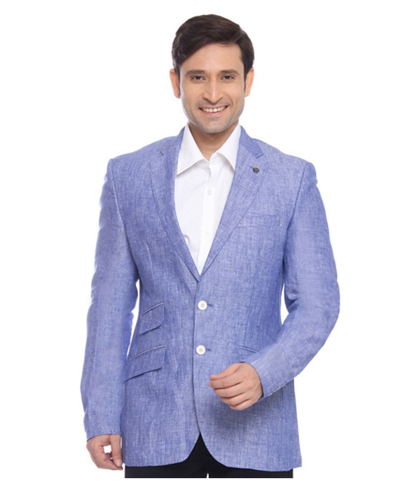 Raymond Blue Solid Formal Blazers