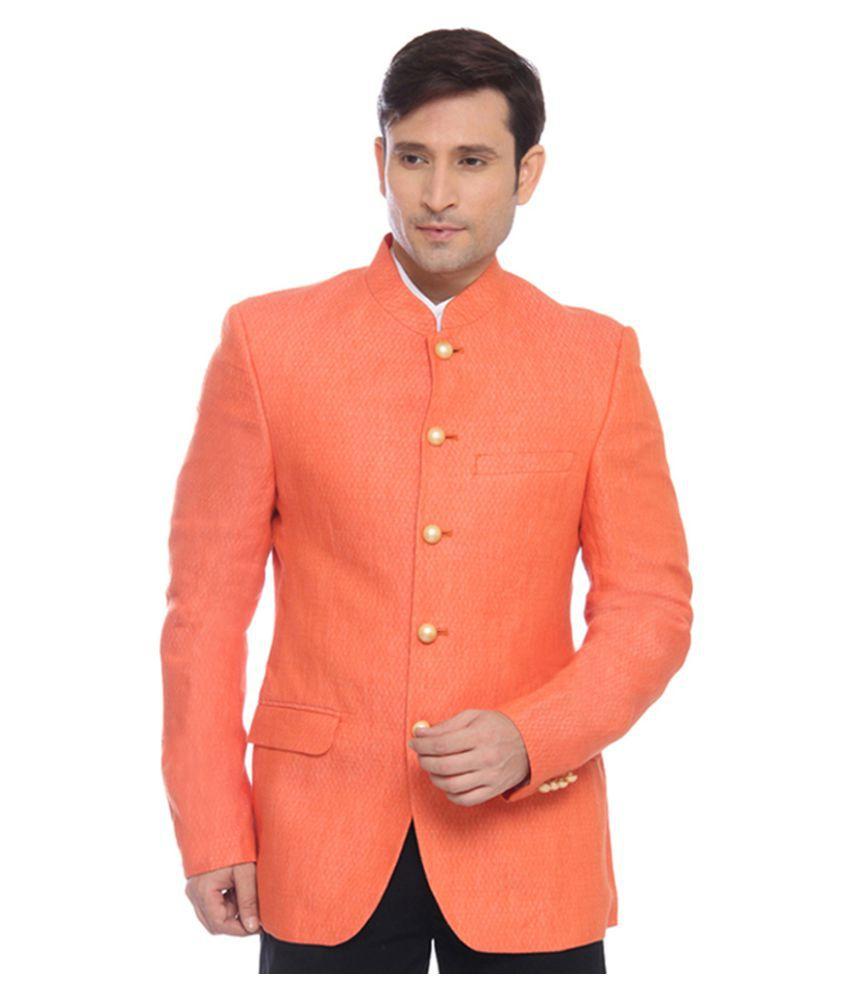 Raymond Orange Solid Formal Blazers